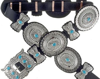 Turquoise Concho Belt Full Size Navajo Hand Hammered