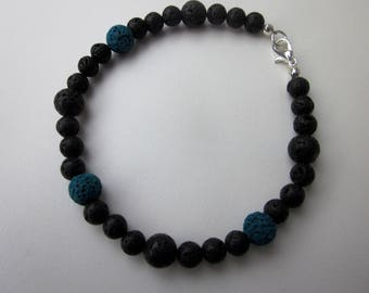 Black and Blue Lava Rock Bracelet