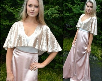 Wedding capelet shrug cover-up - 'Sara' - Sparkly sequin capelet shrug. Great for brides, bridesmaids, and mother of the bride!