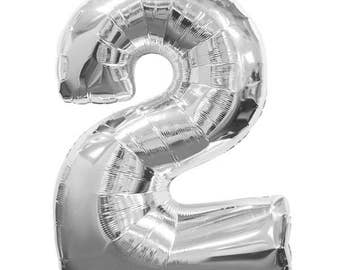"""40"""" Number 2 Silver Mylar Balloon - Number 2 Balloon - TWO Balloon - Second Birthday Decor - Second Birthday Photo Prop - 2nd Birthday Decor"""