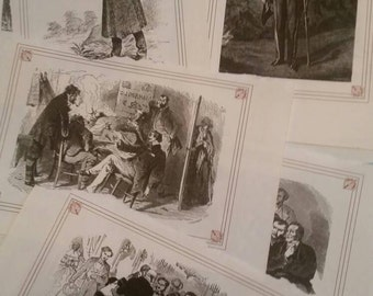 12 Antique original french book prints illustrations paper ephemera.