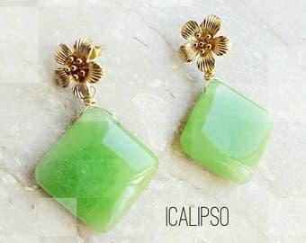 Flower jewelry for women, womens flower jewelry mom gift earrings gemstone jewelry gift for wife gift girlfriend earrings for sensitive ears