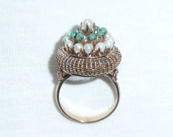 Estate 14k Gold Vintage Genuine Gemstone Emerald Pearl Harem Princess Dinner Cocktail Ring 5.5g sz 7.25 Marked 14 k kt 14kt Large Big Tiered