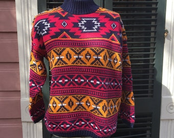 Patterned Colorful Turtleneck Sweater