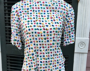 Vintage Prophecy White with Blue, Red, Green, and Yellow Polkadot Blouse