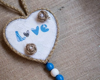 WOODEN HEART ORNAMENT, Wooden Heart, Vintage Heart, Handmade Shabby Ornament, Heart Decoration, Hanging Heart, Heart Gift, Love Saying