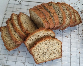 Caraway Seed Bread, 640g. No grains. Especially good warm with soup, or cold, spread thickly with cream cheese.