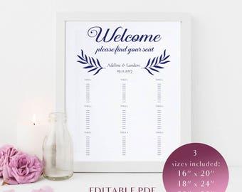 Wedding Seating chart template, Navy blue seating chart, Seating chart printable, Editable PDF, Instant download, DIY Wedding, Navy blue