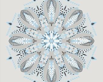 Printable Mandala, Digital Print, blue, gray, white, lace