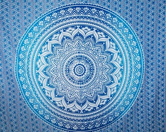 Free Shipping!!! Blue Shaded Tapestries Indian Dorm Decor