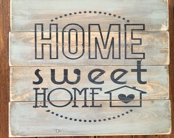 Home sweet home, rustic wood sign, handpainted wooden sign, wood sign, rustic sign, home decor, rustic home decor, home sign, wooden sign