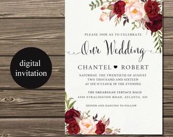Wedding Invitation Suite, Marsala Wedding Invitation, Winter Wedding Invite, Burgundy Wedding Invitation Set, Bohemian Wedding Invites
