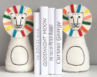 Children's bookends, set of two, Children's decor, bookends, lion bookends, lion decor, Colorful lion, nursery room decor, kids room decor