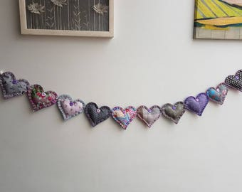 Greys and Purple Handsewn Heart Garland
