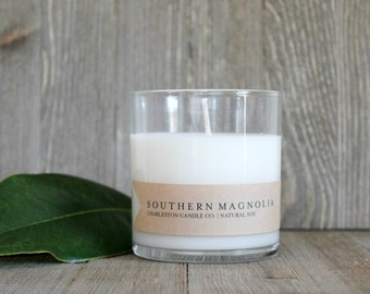 Southern Magnolia Candle | Magnolia Blossom Scented Soy Candle | 9 oz Soy Candle | Charleston SC Inspired Candles