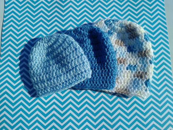 Preemie Boy 23-26 Weeks Classic Crocheted Beanies - Grow with me set of 3 hats. For preemies born at 23-26 weeks. Hat sizes 0, 1 and 2