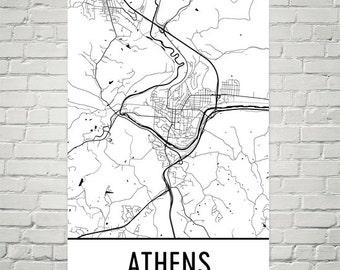 Athens Ohio Map Art Print, Athens OH Art Poster, Athens Wall Art, Map of Athens, Athens Print, Athens Gift, Birthday, Decor, Modern, Art