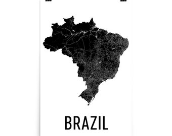 Brazil Map, Map of Brazil, Brazil Art, Brazilian Decor, Brazilian Art, Brazil Print, Brazil Poster, Brazil Wall Art, Brazil Gifts, Map