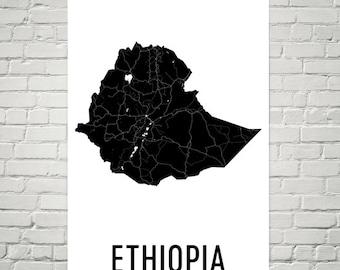 Ethiopia Map Etsy - Map of ethiopia