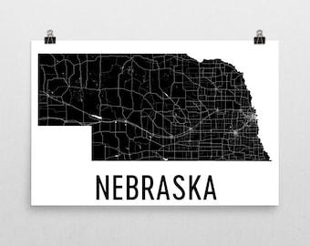 Nebraska Wall Art, Nebraska Gifts, Nebraska Map, Nebraska Print, Nebraska Art, Nebraska Sign, Nebraska Decor, Poster, Map of Nebraska, Home