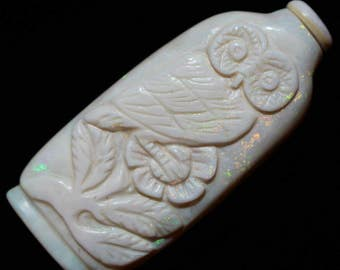 Opal Snuff Bottle Owl Carving Figurine October Birthstone