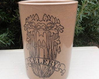RARITY Pearsons of Chesterfield Celery Vase Announcing 175 Years of Business in 1985, Stoneware,  Country Cottage Kitchen, Rustic Kitchen,