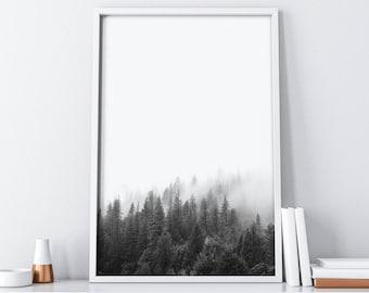 Printable Watercolor Forest Art  Printable Forest Art  Printable Mountains  Forest Print  Mountain Print  Home Decor  Wall Art Print