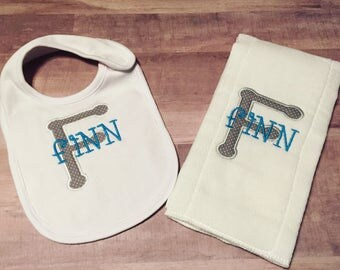 monogrammed baby bib and burp cloth combo, monogrammed white bib, monogrammed burp cloth