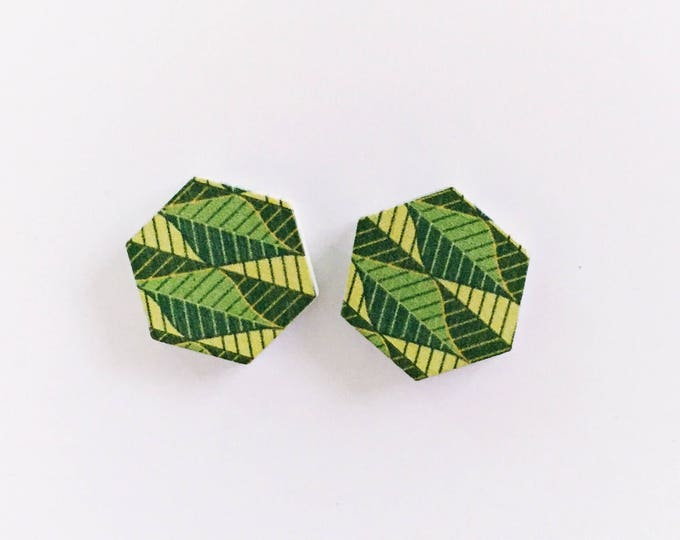 The 'Thea' Wooden Handpainted Earring Studs