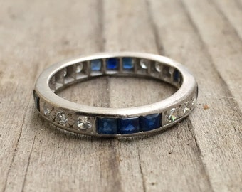 Art Deco diamond and sapphire band FINAL PAYMENT FOR H