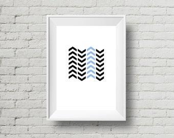 Geometric Chevron Art, Instant Download, Printable Wall Art, Black and Blue Chevrons, Digital Print, Black and Blue, Printable Chevron Art