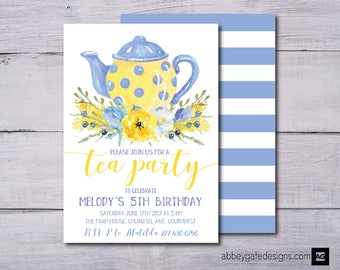 Tea Party Invitation, Floral Birthday Invitation, Tea Party Invite, Birthday Tea Party Invitation, Afternoon Tea Invitation, Tea Party