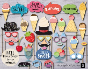 Ice Cream Party Photo Booth Props, Birthday Party Props, Printable Photo Booth, Photobooth Props, Ice Cream Party Photo Booth, Photo Booth