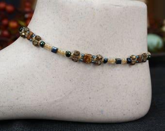 Czech picasso bead and czechmatesmacrame ankle bracelet, beaded anklet, bohemia, micromacrame, boho, hippie