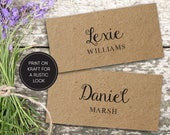 Wedding Place Cards Printable Wedding Name Cards Folded Personalised Wedding Name Tags Rustic Guests Lexie Suite 03110