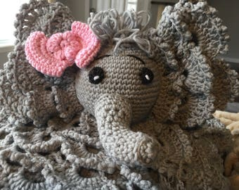 Elephant crochet minky security blankey doudou baby child made in quebec