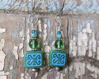 Tribal blue green earrings