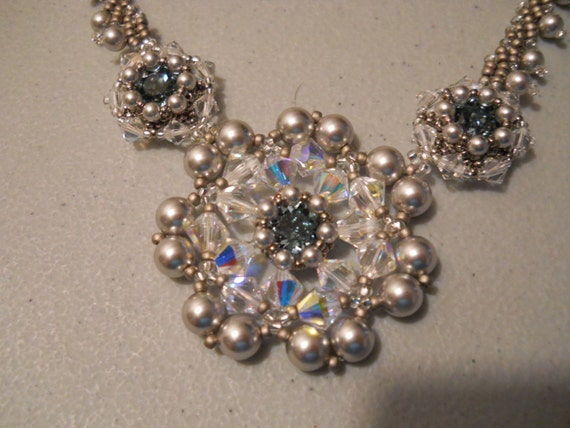 Swarovski Crystal, Pearl and Indian Sapphire Chaton Necklace Set