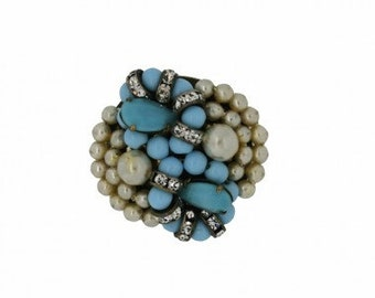 Turquoise Glass French Faux Pearl and Rhinestone Vintage 1950s Brooch