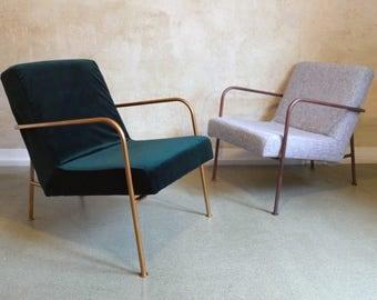 Grüner Samt Sessel mit bronzenen Metallrahmen