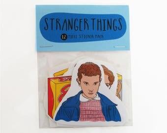 STRANGER THINGS 12 pc sticker set, Stranger things stickers, Stranger things sticker pack, Barb stranger things, Eleven stranger things