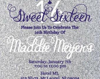 Purple and Silver Birthday Invite