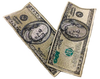 Set of 2 100 dollars bond bill patch iron on applique sew on patches appliques dolar money embroidery embroidered bills usa american