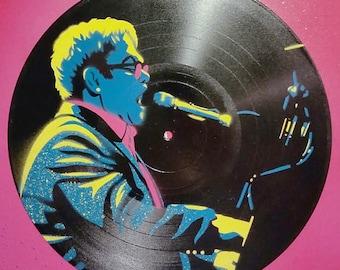 "Elton John Stencil on 12"" Vinyl Record"