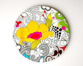 Vintage melamine, serving platter, melamine platter, floral plate, retro serving plate, multicolour platter, retro floral plate
