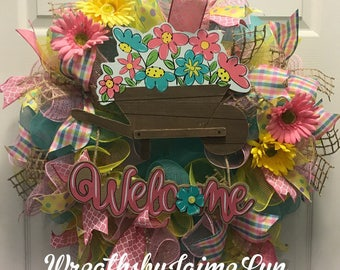 Spring Flower Welcome Wreath, Spring deco mesh Wreath, spring wreath, welcome wreath, front door wreath, Flower Wreath