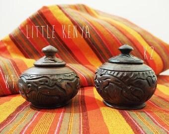 African Ebony Wood Sugar Pot Tea Bag Salt Coffee Jar Handmade Handcarved Storage