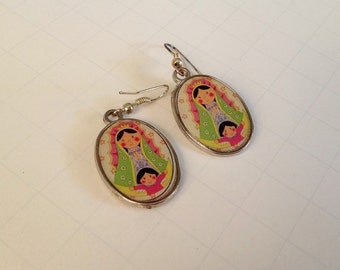 Our Lady of Guadalupe Earrings Virgen de Guadalupe Drop Earrings Dangle Earrings Double Sided