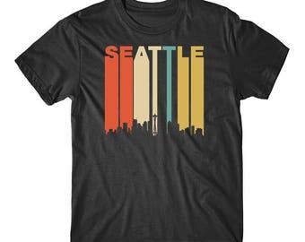 Vintage Retro 1970's Style Seattle Washington Cityscape Downtown Skyline T-Shirt