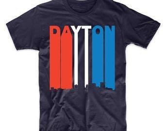 Retro Style Red White And Blue Dayton Ohio Skyline T-Shirt
